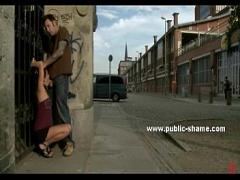Watch video category bdsm (244 sec). Sexy brunette with long hair in public piazza naked gets humiliated and fucked.